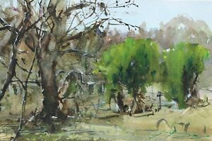 Landscape-Painting-Watercolor-Original-Countryside-Impressionist-Nature-11x7-in