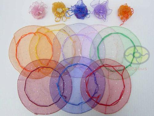 """10/"""" Paillettes Pointillées Organza Sachets Bijoux Sacs 12//25//50//100pcs Cercle Diamètre"""