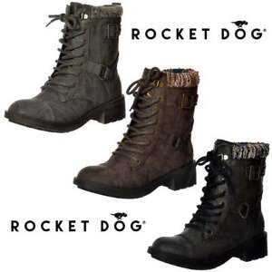 e17e91a84f20 Womens Rocket Dog Thunder Lace Up Buckles Military Ankle Boots Derby ...
