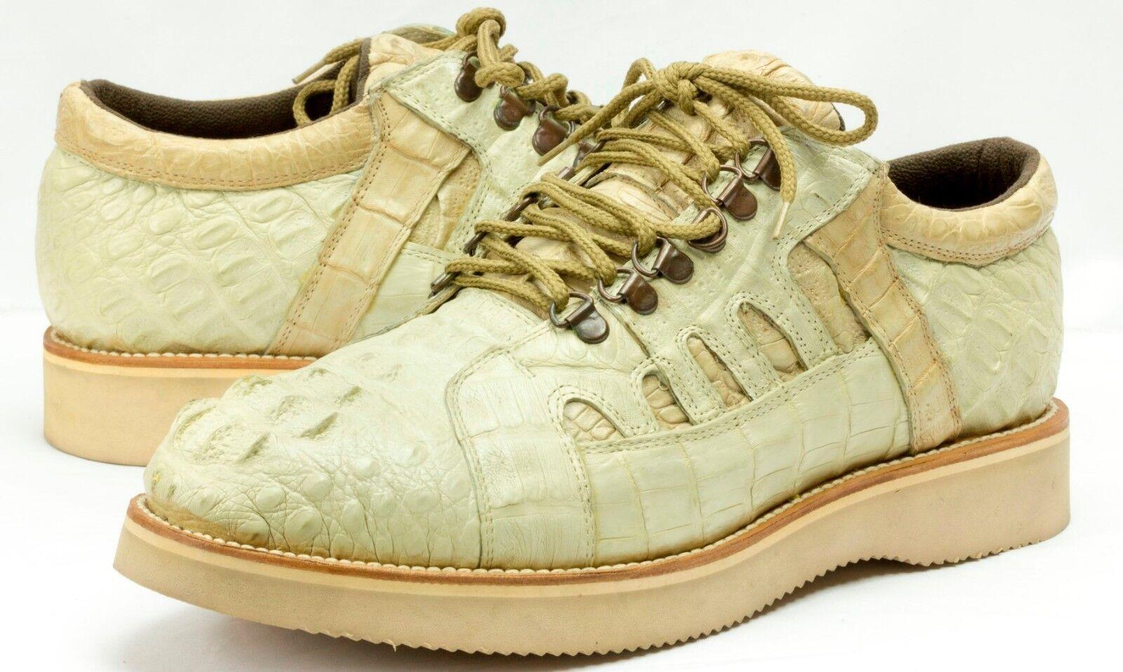 Uomo Sand Crocodile Exotic Skin Shoes Western Cowboy  Size 12.5