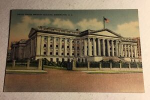 Post-Card-United-States-Treasury-Building-Washington-DC-Linen-Unposted