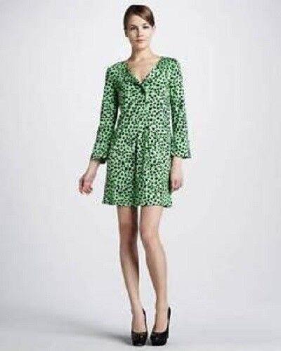 DVF Diane Von Furstenberg GABY Silk Jersey Leopard Print Shift Tunic Dress 6
