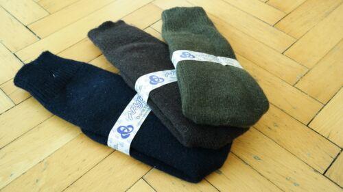 Pure Naturel Merino Wool Over Calf Men Socks 3 Pairs Pack-Navy Blue//Brown//Green