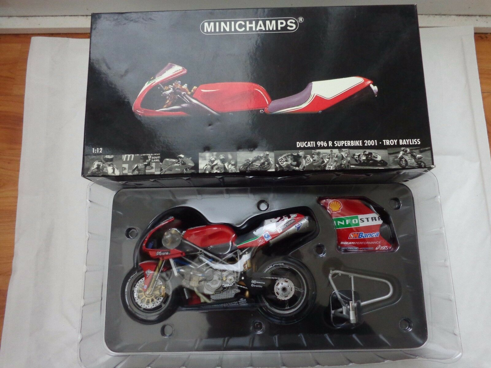 122011221 MINICHAMPS 1 12 DUCATI 996R SUPERBIKE WSB 2001 - TROY BAYLISS BIKE