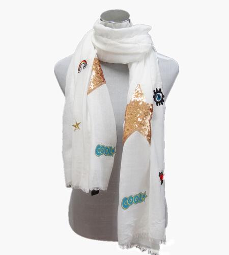 Damen Schal Sommer Tuch Muster Stern Auge Rose Cool Zeichen Stola Weiß V5519