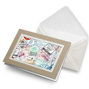 Greetings-Card-Biege-Travel-Stamps-Holiday-Travelling-8198
