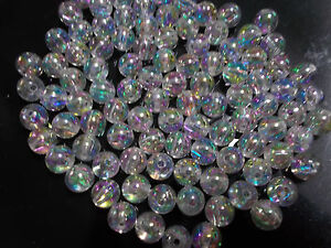 100pcs-8mm-Acrylic-Seamless-Round-Beads-Clear-Iridescent-AB-Wedding-Bridal