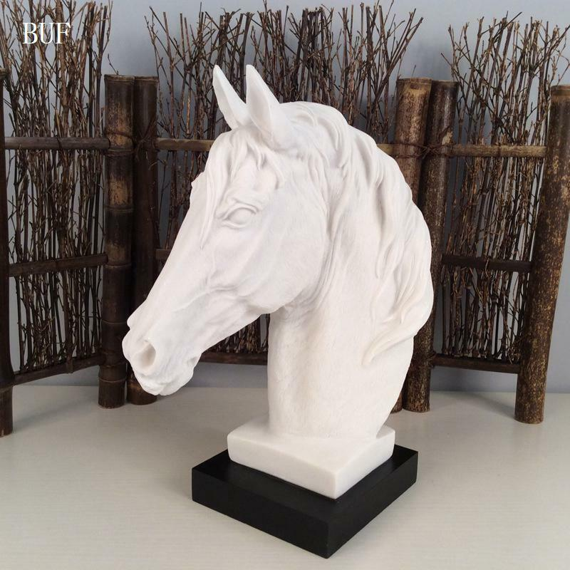 Modern Abstract Horse Head Statue Sculpture Resin Ornaments Home Decoration Acce