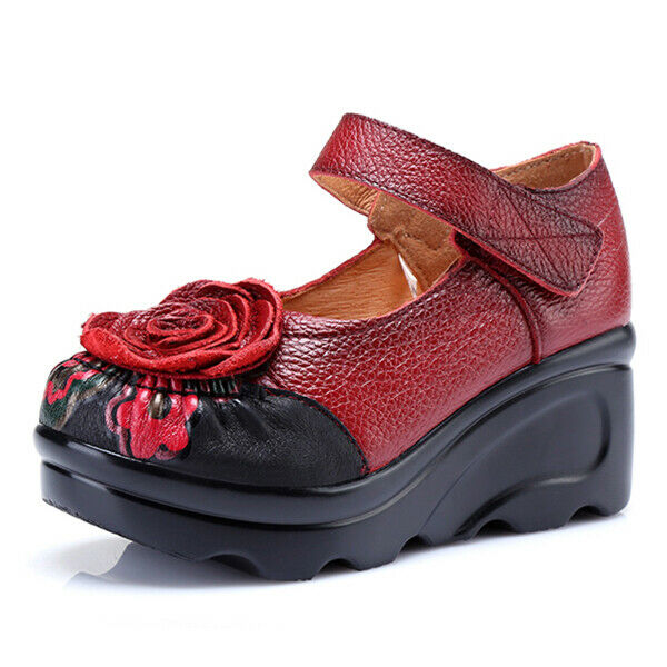 SOCOFY Retro Leather Flower sautope For donna
