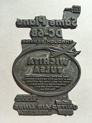 1950s United Airlines Dc-6 Wichita- Tulsa Advertisement Printers Plate Unique