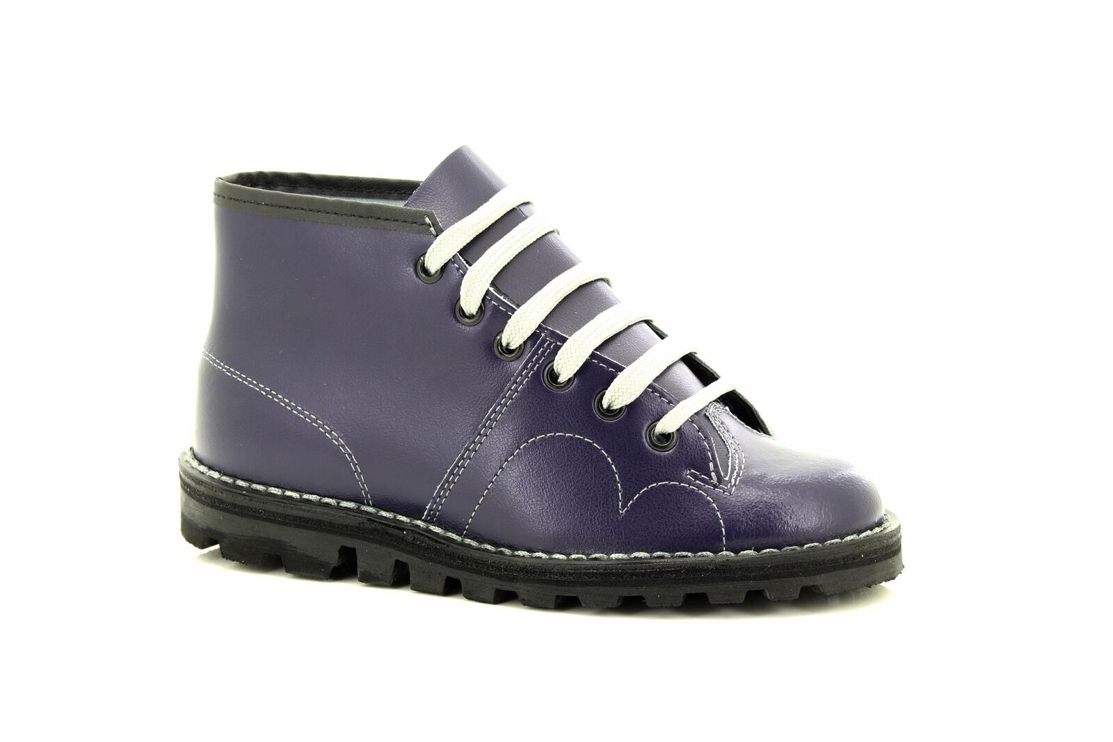 Grafters Unisex Original Retro Lace Up Monkey Boots 1960's Style Navy Coated Lea