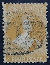 1865- New Zealand 4d yellow QV Chalon stamp Used