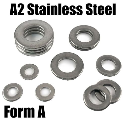A2 Stainless Steel Form A Washers To Fit Bolts /& Screws M4 M5 M6 M8 M10 DIN125a