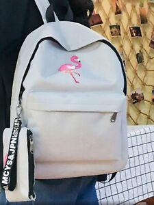 Woman flamingo rucksack girls school bag outdoor backpack handbag purse