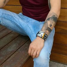 Mens Black Leather Band Punk American Eagle Gothic Biker Bracelet Wristband