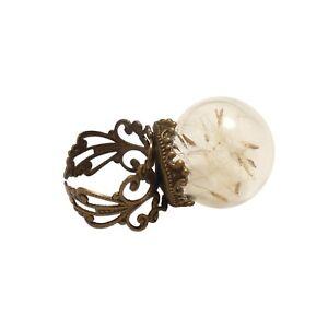Dandelion-ring-globe-seed-flower-botanical-bronze-UNIQUE-ADJUSTABLE-womens