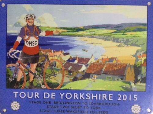 Vintage Style Metal Wall Sign Tour De Yorkshire Scarborough 2015 Gift