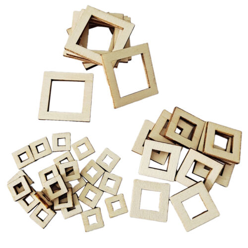 100Pcs Blank Wood Pieces Square Flowers Hexagon Hollow Unfinished Wooden Cutouts