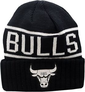 e4e7b05ca46 Image is loading Chicago-Bulls-Knit-Hat-Cuffed-Reflective-Patch-Logo-