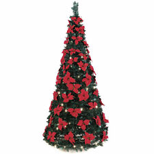 6 ft pop up christmas tree with 70 poinsettias 200 clear lights pull up tree - 7 Ft Christmas Tree