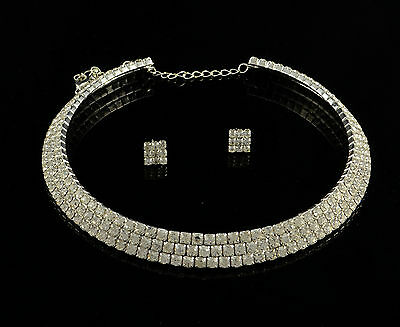SILVER 1, 2, 3, or 4 ROW DIAMANTE RHINESTONE CHOKER NECKLACE  EARRINGS SET