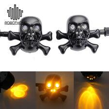 Universal Motorcycle LED Skull Turn Signal Light For Harley Crusier Chopper Moto