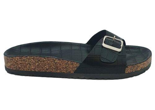 Black Croc Comfort Footbed Madrid Buckle Summer Slides Sandals