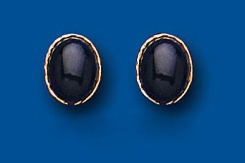 Massivem Gold Onyx Ohrringe Massiv 9 Karat Stecker Naturstein Ohrstecker