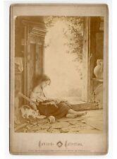 BREMEN 1888 OR EARLIER-GIRL W/ BABY DOLL + KITTEN, HATCHET IN WOOD, CABINET CARD