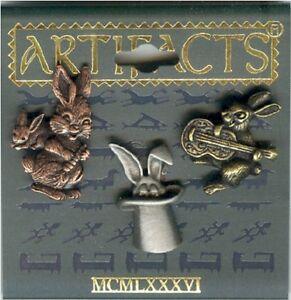 Pewter-Copper-BrassTrio-Bunny-Rabbit-Clutch-Pins-by-JJ