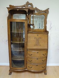 Image Is Loading Antique American Art Nouveau Oak Secretary Desk Display