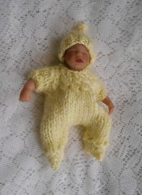 "Doll Clothes Footed Hand-knit Yellow Suit With Cap Fits Baby 4.5"" A. Drake"