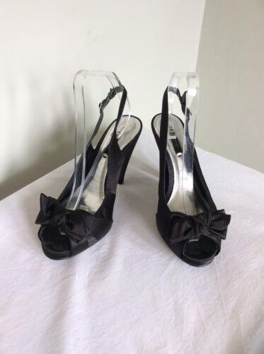 Textile Peep 6 Black Bow Toe Front Size Slingback Shoe Uk Next vq5gtw