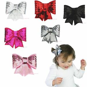 Bling Solid Sequins Glitter Sparkle Kid Baby Girl Hair Pin Clip Bow Accessory