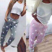 Fashion Women Casual Star Print Sports Long Pants Slim High Waist Sport Trousers