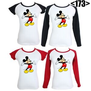 Disney-Mickey-Mouse-Cute-Design-Graphic-Tees-Tops-Women-039-s-Girls-Ladies-T-Shirt
