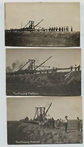 3-Tracklaying-Machine-amp-Railroad-crew-Onida-Herman-South-Dakota-real-photo-RPPC