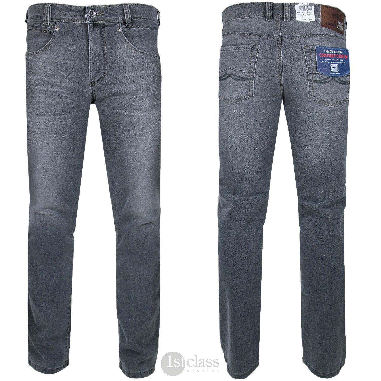 joker jeans freddy 2562 0800 straight fit medium grey comfort stretch ebay. Black Bedroom Furniture Sets. Home Design Ideas