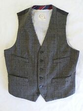 MERONA gray Glen plaid wool blend tweed steampunk waistcoat vest MEDIUM