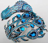 Big Peacock Cuff Bracelet Bling Jewelry Gift For Women Girls Silver Blue 2