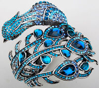 Peacock Cuff Bangle Bracelet Bling Jewelry Gifts For Women Mom Silver Blue 2