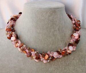 Collana-girocollo-Madreperla-pietre-Dure-perle-cristalli-da-donna-new-collezione