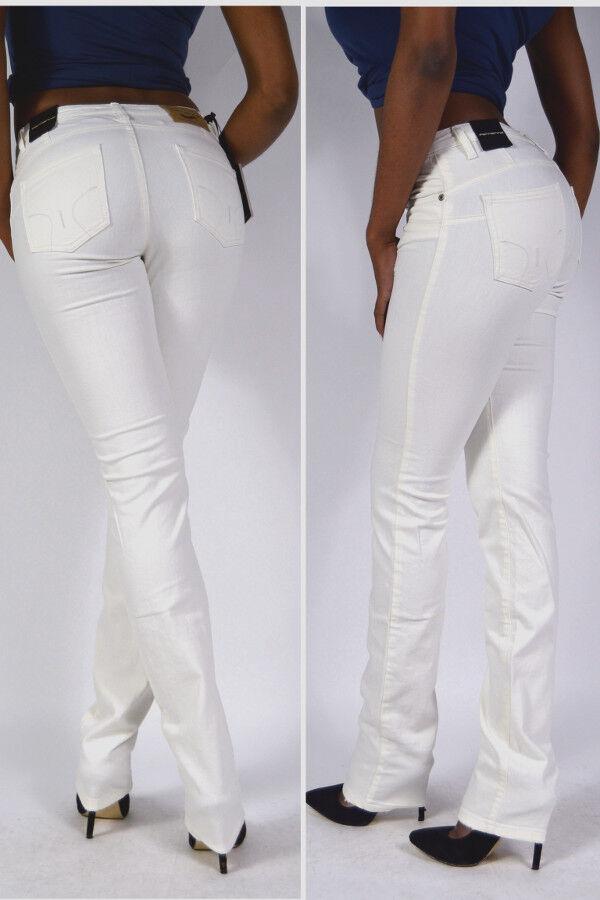 NEU  Fornarina Jeans AMOS offwhite weiss High Waist Straight Slim Leg W26 L34