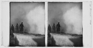 France Pompiers Paris plaque stéréoscopique 8,5X17 légendée 1910