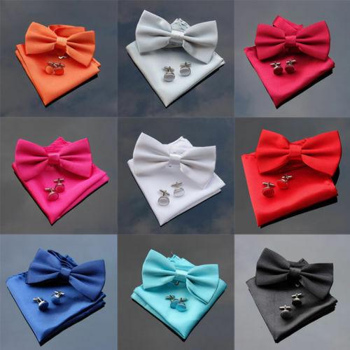 Da UOMO di SETA Plain Pre-Legato Bow Tie Bowtie Gemelli Fazzoletto da taschino festa matrimonio UK