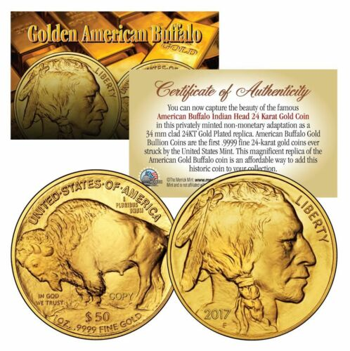 Lot of 3 2017 24K Gold Plated $50 AMERICAN GOLD BUFFALO Indian Tribute Coin