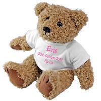 Celebrate The Birth / Baby / Newborn Personalised Teddy Bear + Gift Bag