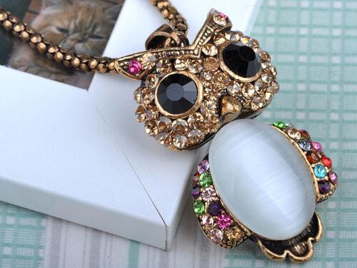 Adorable Mignon Or Coloré Cristal Rhines hibou oiseau Collier Pendentif Ali