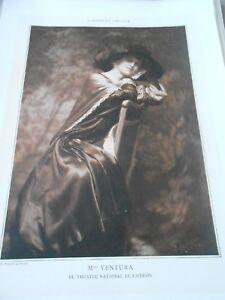 Ordonné Portrait Actrice Théatre Mlle Ventura 1909 Confortable Et Facile à Porter