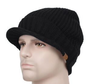 Details about Black Men s Winter Wool Blend Visor Brim Beanie Bill Knit  Baseball Cap Skull Hat 81230733136